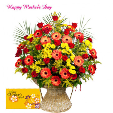 Basket of Roses & Gerberas - Basket of 25 Roses & Gerberas and Card