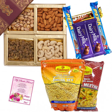 Wonderful Assortment - Assorted Dryfruit 200 gms, Haldiram Namkeen 2 Packs , Assorted Chocolates 5 Bars