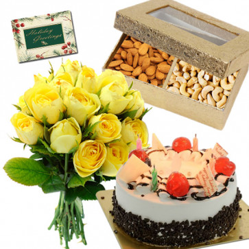 Mix Surprise - 5 Star Cake Black Forest 1kg, Almonds & Raisin 200 gms, 12 Yellow Roses & Card