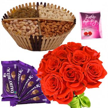 Rose n Nuts - Assorted Dryfruit Basket 200 gms, Dairymilk 5 pcs, 12 Red Roses in Bunch