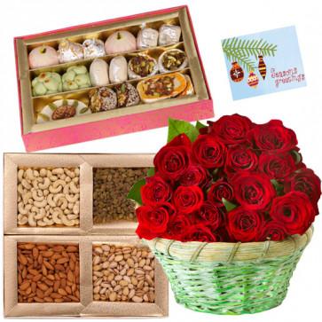 Sweets n Nuts - 24 Red Roses in Basket, Kaju Katli 250 gms, Assorted Dry fruits 200 gms
