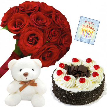 """Birthday Special - 15 Red Roses in Bunch, 6"""" Teddy, Blackforest Cake 1 kg and Card"""