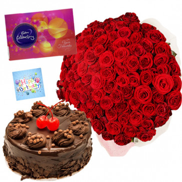 Grand Treat - 100 Red Roses 4 ft, Chocolate Cake 1/2 Kg, Celebrations 121gms and Card