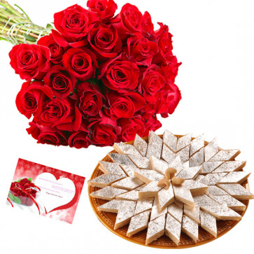Birthday Sweets - 24 Red Roses in Bunch, Kaju Katli 500 gms and Card