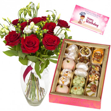 Sweet Delight - 12 Red Roses in Vase, Kaju Mix 250 gms and Card