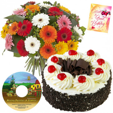Dreams - Bunch Of 15 Gerberas + Cake1/2kg + Mind Stretching Puzzles Cd