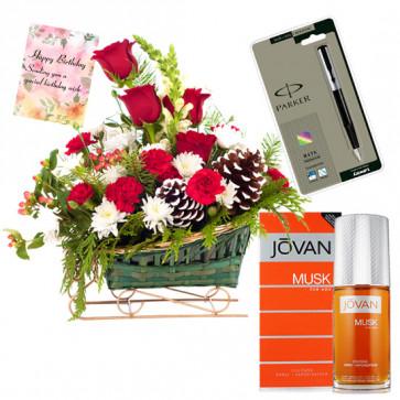 Season's Fresh - Basket 20 Mix Flowers + Jovan Musk Perfume + Pen