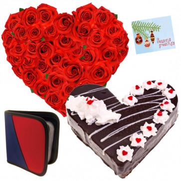 Affection - 50 Red Roses Heart + Heart Shape Cake 1kg + Cd Holder