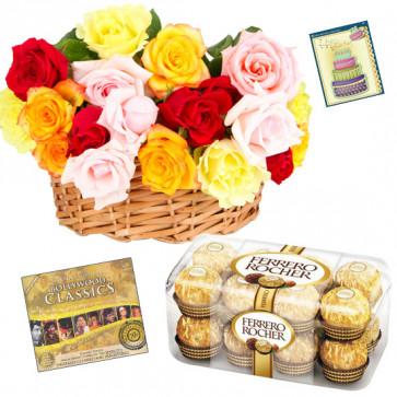 Classic - Basket 20 Mix Roses + Ferrero Rocher 16pcs + Classical Hindi Films Songs