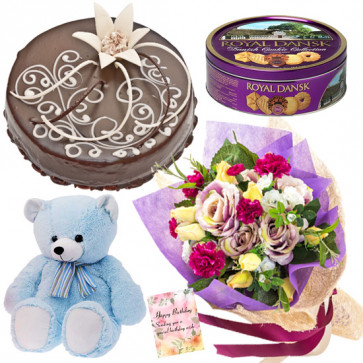 """Bountiful Expression - Bunch 20 Mix Flowers + Cake 1/2kg + Danish Butter Cookies + 8"""" Teddy Bear"""