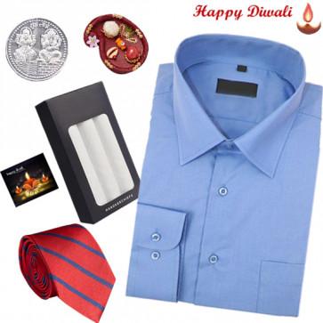 Perfect Brother Hamper - Peter England Blue Shirt, Tie, Hanky with Bhaidooj Tikka and Laxmi-Ganesha Coin
