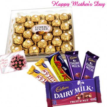 Ferrero Rocher and Cadbury Bars - Ferrero Rocher 24 Pcs, Cadbury Hamper and Card