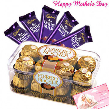 Choco Nutty Hamper - Ferrero Rocher 16 pcs, Dairy Milk Bars 5 pcs of 20 gms and Card