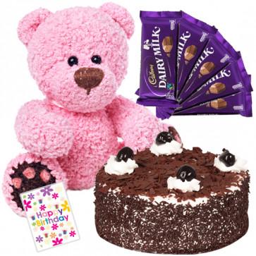 Heartly Wishes - 1 Kg Blackforest Cake + Teddy 6 Inch + 5 Dairy Milk Chocolates + Card