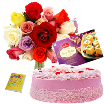 Special Combo - Bunch 12 Mix Roses + 1/2 Kg Strawberry Cake + Soan Papdi 250 Gms + Card