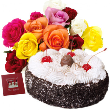 Lovely Combo - Basket Of 20 Mix Roses + 1/2 Kg Black Forest Cake + Card