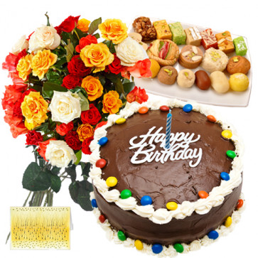 Gift With Love - Bunch 15 Mix Flowers + 1/2 Kg Cake + Assorted Sweets 250 Gms + Card