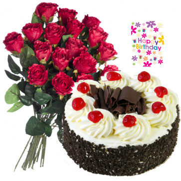 Emotionally Yours - Bunch 20 Red Roses + 1/2 Kg Black Forest cake + Card