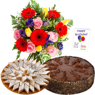 Sweet Moments - Bunch 12 Mix Flowers + Kaju Katli + 1/2 Kg Cake + Card