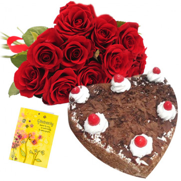 Roses with Heart Cake 1 Kg - 12 Red Roses Bunch + Heart Shaped Black Forest Cake 1 kg + Card