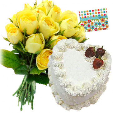 Yellow Combo 1 Kg - Bunch of 12 Yellow Roses + Heart Shaped Pineapple Cake 1 kg + Card