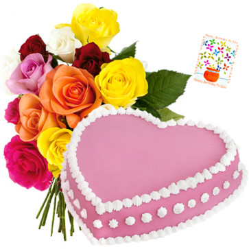 Mix Roses with Cake 1 Kg - Bunch of 12 Mix Roses + Heart Shaped Strawberry Cake 1 kg + Card