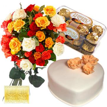 Treat From Heart - Bunch of 12 Mix Roses + Ferrero Rocher 16 Pcs+ Heart Shaped Vanilla Cake 1 kg + Card