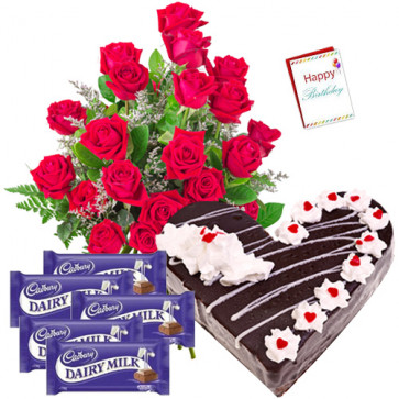 For Sweet Moments - Bunch of 12 Red Roses + Heart Shaped Black Forest Cake 1 kg + 5 Dairy Milk Chocolates + Card