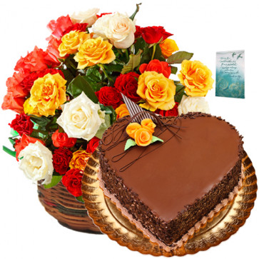Delicious Combo - 20 Mix Roses Basket + Heart Shaped Cake 1 kg + Card