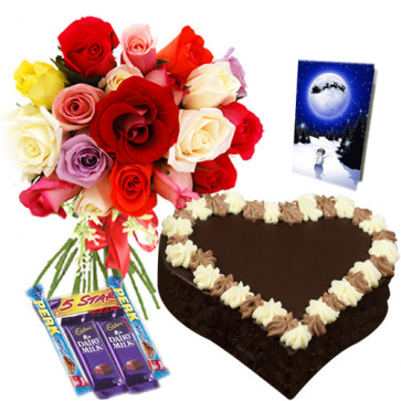 Delightful Treat - 15 Mix Roses Bunch + Cadbury Chocolates 5 Bars + Heart Shaped Cake 1 kg + Card