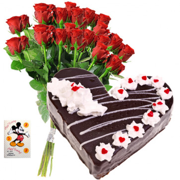 Lovely Surprise - Bunch 12 Red Roses + 1 Kg Heart Shaped Black Forest Cake + Card