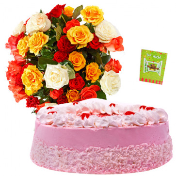 Strawberry Treat - Bunch 20 Mix Roses + 1/2 Kg Strawberry Cake + Card