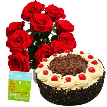Wonderful Combo - 12 Red Roses Vase + 1/2 Kg Black Forest Cake + Card
