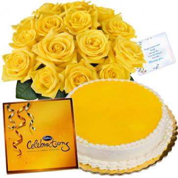 Royal Treat - Bunch 12 Yellow Roses + 1/2 Kg Pineapple Cake + Cadbury Celebration + Card