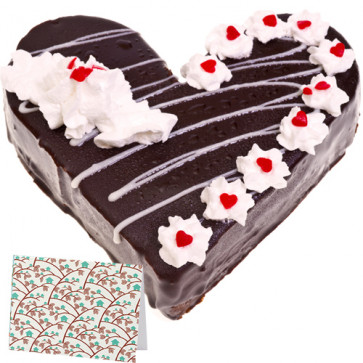 Black Forest Heart Cake 1 Kg + Card
