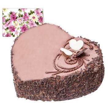 Chocolate Heart Cake (Eggless) 1 Kg + Card