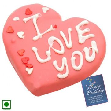Lovely Strawberry Heart Cake (Eggless) 1 Kg + Card