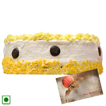 Pineapple Cake (Eggless) 2 Kg + Card