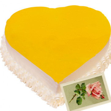 Pineapple Heart Shape Cake 1 Kg + Card