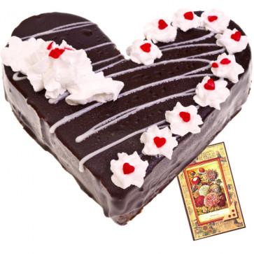 Black Forest Heart Shape Cake 1 Kg + Card