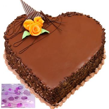 Chocolate Heart Shape Cake 1 Kg + Card