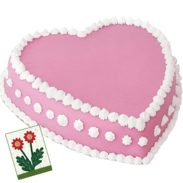 Strawberry Heart Shape Cake 1 Kg + Card