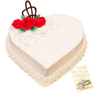 Vanilla Heart Shape Cake 1 Kg + Card