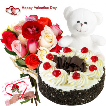 """Valentines Delight - 12 Mix Roses in Bunch + 1/2 kg Black Forest Cake + Soft Toy 6"""" + Card"""