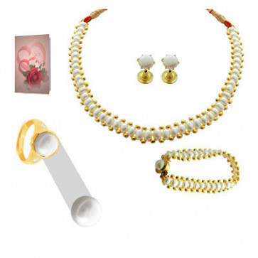 Pearl for Couple - 6 Carat button pearl and Choker Pearl Set