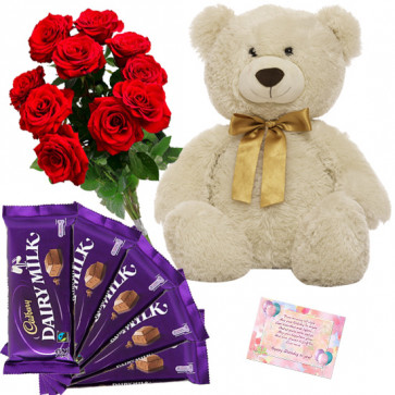 Love of Ferrero - Teddy 20 inch, 5 Dairy Milk 14 gms each, 6 Artificial Roses & Card