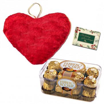 Perfect Love Combo - Heart Shaped Pillow, Ferrero Rocher 16 pcs & Card
