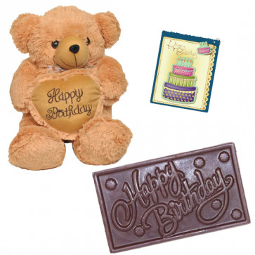 Perfect B'day Gift - Teddy 8 inch with Heart, Happy Birthday Chocolate & Card