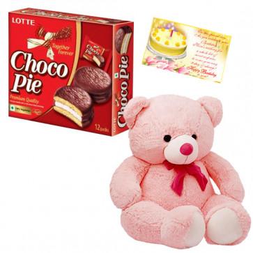 Gaint Teddy with Chocopie - Teddy 24 inch, Chocopie 12 pcs & Card