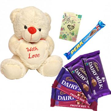 Love Treasure - Teddy 6 inch with Heart, 2 Dairy Milk 14 gms each, 2 Fruit N Nut 34 gms, 2 Perk & Card